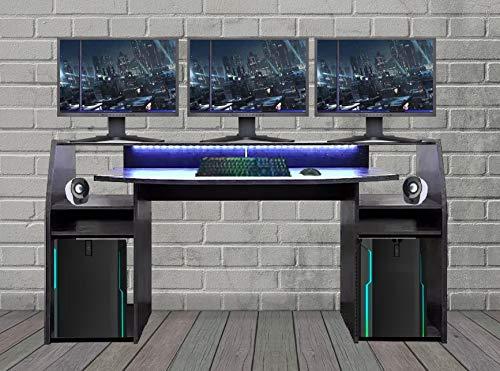 Wohnorama Gaming Tisch inkl. LED RGB Beleuchtung, Setup Gamer Ablagen, Ultra Wide TV Monitor geeignet