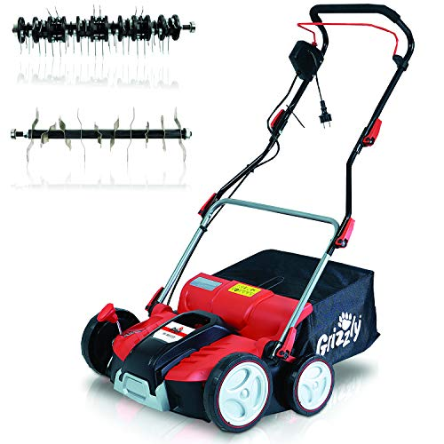Grizzly Elektro Power Vertikutierer ERV 1801, 1800 W Turbo Power Motor, 37 cm Arbeitsbreite, Elektrischer...