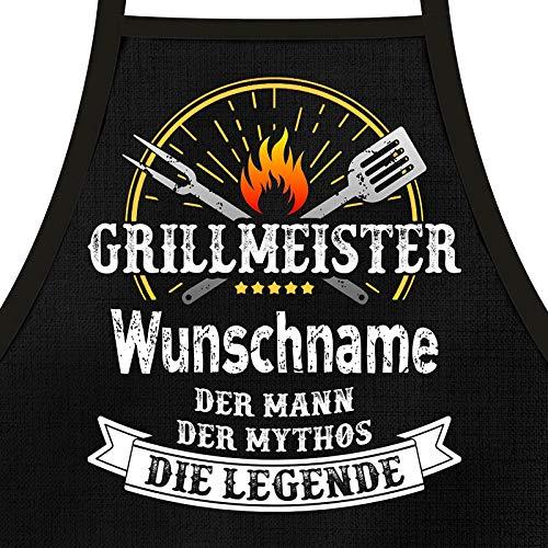 Shirtoo Grillschürze mit Spruch personalisierbar - Grillmeister [Wunschname] der Mann, der Mythos, die...