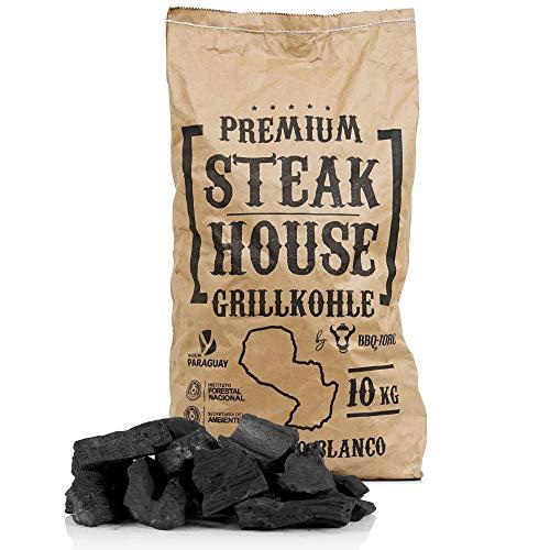 BBQ-Toro Premium Steak House Grillkohle | 10 kg | Querbracho Blanco Kohle | Holzkohle in Restaurant Qualität...