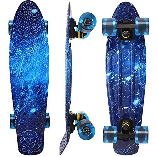 WonderTech Galaxis Penny Board Skateboard Blau 22 Zoll,Mini Cruiser für Jungen und Mädchen 55 cm
