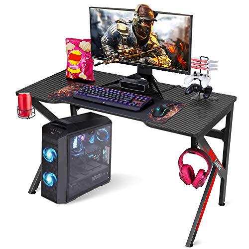 SIMBR Gaming Tische, 121cm Rennstil Gaming Computertisch K-förmiger PC Computer Gaming Tisch im Büro mit...
