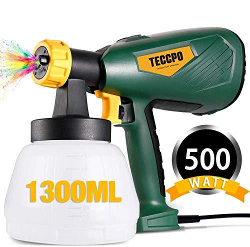 Farbsprühsystem, TECCPO 500W HVLP Farbspritzpistole 800ml/min, Elektrische Spritzpistole, 3 Kupferdüsen(1,8...