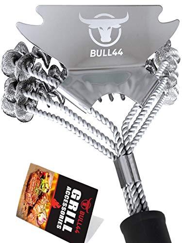 Bull44 BBQ Grillbürste 360° mit Schaber – Borstenfrei – ohne Borsten – aus Edelstahl – Langer Griff...