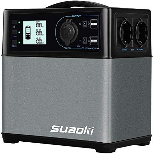 SUAOKI 400Wh Mobiler Energiespeicher, Solar Generator/AC Steckdose/Autos, 4 USB-Ports/ 2 AC & DC Inverter/ 1...