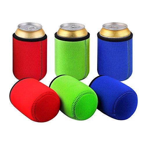 TAGVO Dosenkühler 6 in Packung (2 Rot X 2 Grün X 2 Blau) Bier Flaschenkühler für 0.33L Dosen
