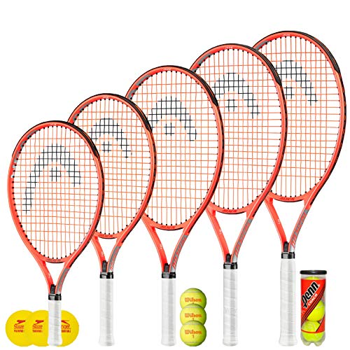 HEAD Radical Junior Tennisschläger + 3 Tennisbälle (Verschiedene Balloptionen) 19 ', 21', 23 ', 25' & 26 '...