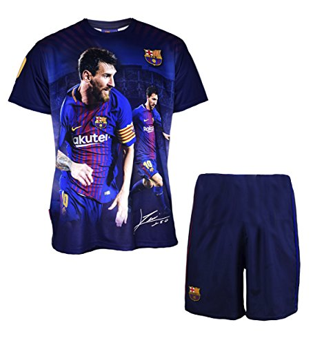FC Barcelona Jungen-Trikot und Kurze Hose, Lionel Messi, Nr. 10, offizielle Kollektion, Kindergröße - 12...
