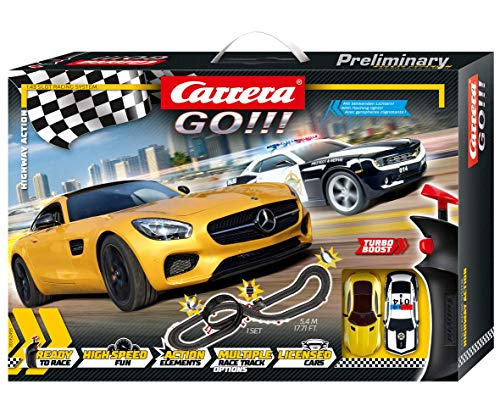 Carrera GO!!! Highway Action Rennstrecken-Set | 5,4m elektrische Rennbahn mit Chevrolet Camero Sheriff &...