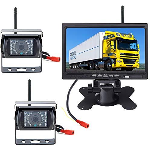 pumpkin1:Funk Rückfahrkamera mit Monitor 2 x18 IR LED Nachtsicht wasserdichte Fahrzeug Rückfahrkameras...