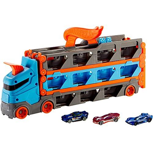 Hot Wheels GVG37 - 2-in-1 Rennbahn-Transporter zur Aufbewahrung mit 3Fahrzeugen im Maßstab 1:64 für Kinder...