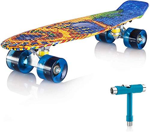 Newdora 22' kompletter Skateboard Cruiser mit Buntem LED-Lichtrad für Kinder, Jungs, Mädchen