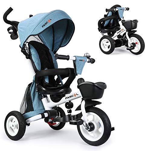 Fascol Dreirad 6 in 1 Kinderwagen Klappbar Kinderdreirad mit Lenkbarer Schubstange Fahrrad für Kinder ab 6...