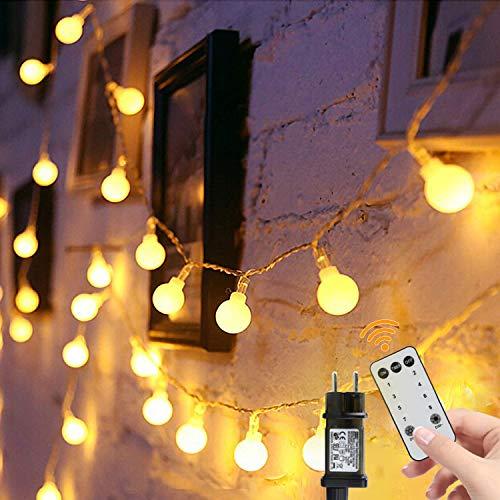 Lichterkette Kugeln 15m 100er LED Lichterketten Einstecken 8 Modus mit Fernbedienung und Timer Wasserdicht...
