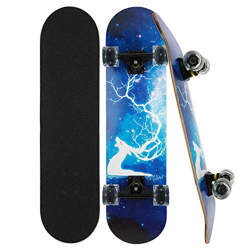 Skateboard Komplett Board 79x20cm Holzboard ABEC-7 Kugellager 31 Zoll 7-lagigem Ahornholz, 85A Blinkende...