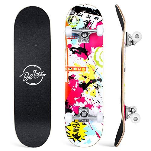 BELEEV Skateboard 31x8 Zoll Komplette Cruiser Skateboard für Kinder Mädchen Erwachsene, 7-Lagiger...