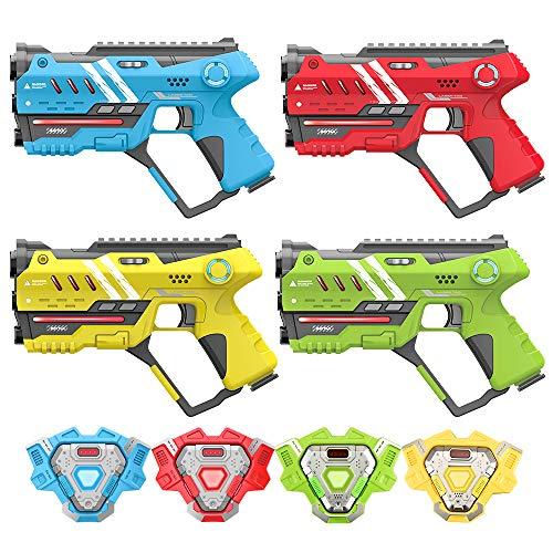 VATOS Lasertag - Infrarot Laserpistole Spiel mit Westen 4 Packung - Multifunktion Lasertag Spiel Set für...