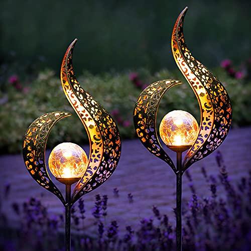 Gadgy Set von 2 Solarlampen für Außen Flamme   Wasserdichte Solar Lampe für die Garten dekoration   LED...