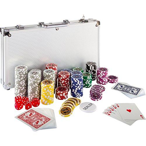 Maxstore Ultimate Pokerset mit 300 hochwertigen 12 Gramm METALLKERN Laserchips, inkl. 2X Pokerdecks, Alu...