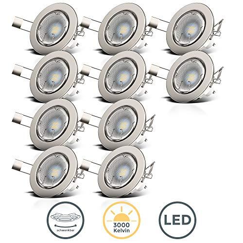 B.K.Licht I 10er Set schwenkbare LED Einbaustrahler I inkl. 5W GU10 Leuchtmittel I 400lm I warmweiße...