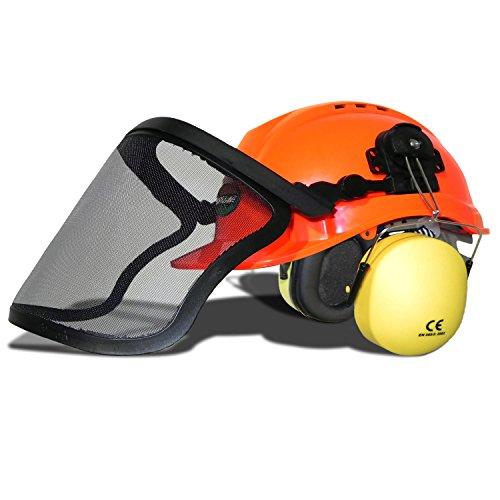 WOODSafe® Forsthelm orange - Klappvisier, Gehörschutz, Nackenschutz, Lüftungsschlitze - Waldarbeiterhelm