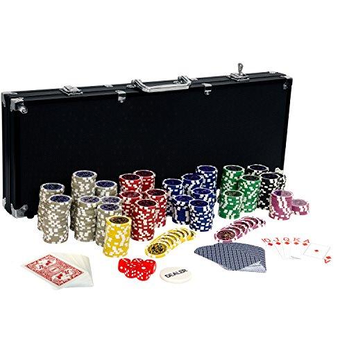Ultimate Black Edition Pokerset, 500 hochwertige 12 Gramm METALLKERN Laserchips, 100% PLASTIKKARTEN, 2x...