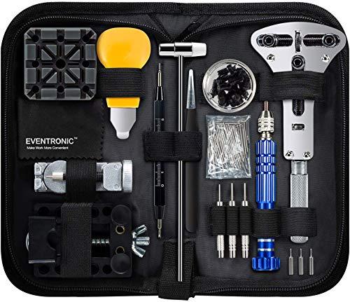 Eventronic Uhrenwerkzeug Set , Uhr Reparatur Uhrmacherwerkzeug Uhr Werkzeug Tasche Watch Tools in Schwarze...