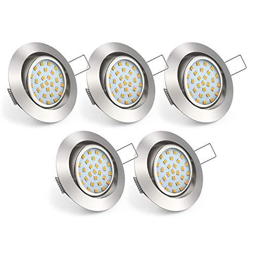 Uchrolls 5er Set Ultra Flach LED Einbaustrahler Schwenkbar, 4W 450LM, Warmweiß, Nur 22mm Einbautiefe Drehbar,...