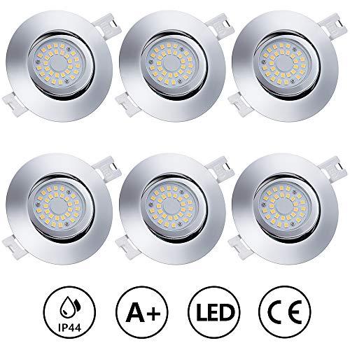 Anpro 6Stk LED Einbaustrahler Flach Dimmbar + Anschlussdose, Einbauleuchten Deckenstrahler Einbauspot 230V 5W...