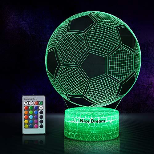 Fußball 3D Nachtlicht für Jungen, 3D Optische Täuschungs lampe, Dimmbare 3D Nachtlicht mit 16 Farben...