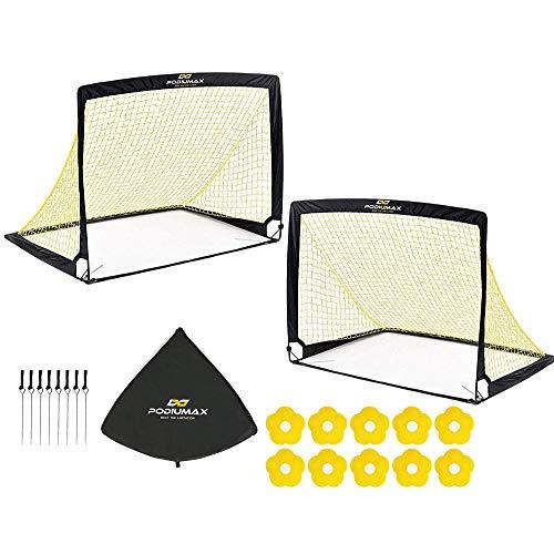 PodiuMax 2er Set Faltbar Pop Up Fußballtor mit 10 x Hütchen, 8 x Bodenanker, Schnell Aufzustellen,Tragbar...