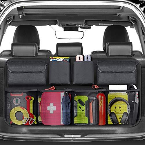 BURNNOVE Auto Organizer Kofferraum Organizer Auto Aufbewahrungstasche mit Starkes elastisches Netz und Klett...
