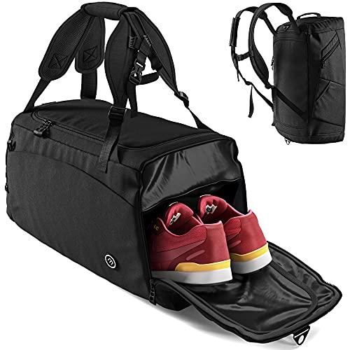 Sporttasche Trainingstasche + Rucksack-Funktion, Schuhfach, Nassfach   40L Reisetasche Schwimmtasche...