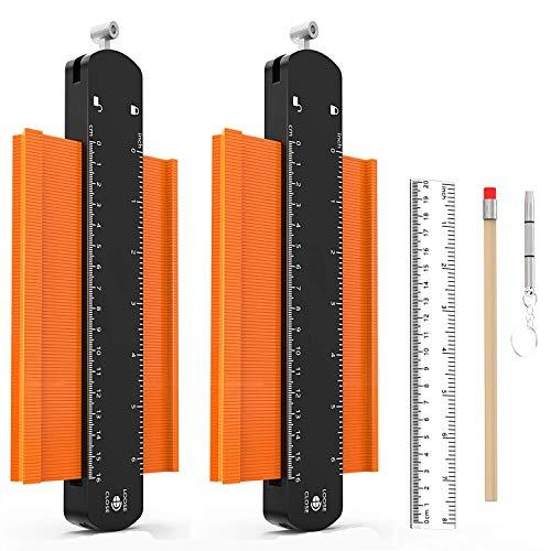 2 Stücke Konturenlehre mit Feststeller, AkoaDa 250mm und 250mm Kunststoff Konturlehre Magic Kontur Werkzeug...
