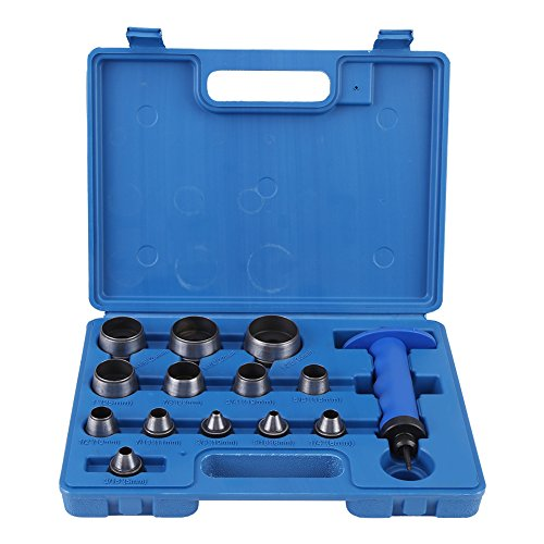 Cocoarm 13 TLG Locheisen Lochstanzensatz Hohl Locher Set 5-35 mm Stanzwerkzeug mit Zentrierspitze Belt...