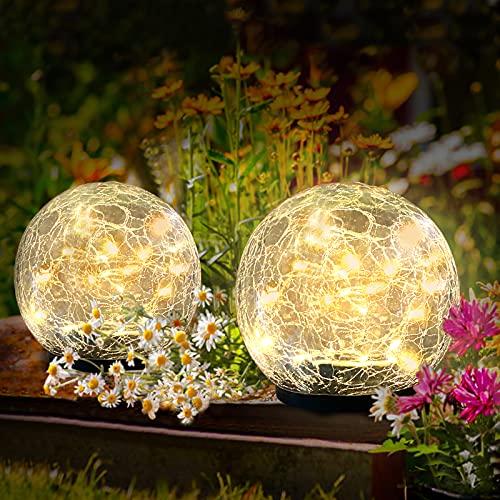 [2 Stück] Solar Bodenleuchte für Garten, OBOVO Solarlaterne für Außen 40 LEDs Warmweiß Gartenleuchte...
