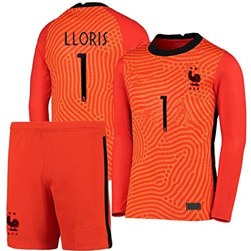 S&K Sports Hugo Lloris Frankreich Trikot + Shorts, 2 Sterne, außen rot, 2020/21 für Herren und Kinder (rot,...