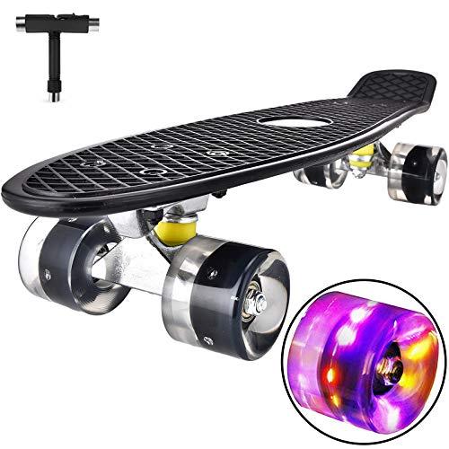 Skateboard Komplette Mini Cruiser Skateboard für Kinder Jugendliche Erwachsene, Led Leuchtrollen mit...