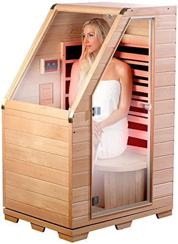 newgen medicals Infrarotkabine: Kompakte Infrarot-Sitzsauna aus Hemlock-Holz, 760 W, 0,62 m² (Sitzsauna für...