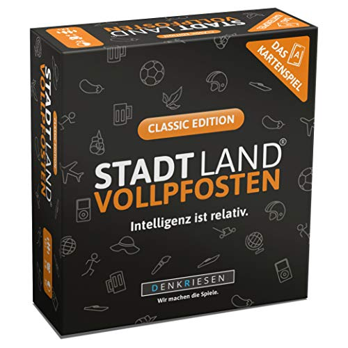 DENKRIESEN - Stadt Land VOLLPFOSTEN - Das Kartenspiel - Classic Edition | Wichtelgeschenk | Stadt Land Fluss...