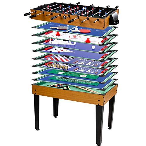 Maxstore Multigame Spieletisch Mega 15 in 1, inkl. komplettem Zubehör, Spieltisch mit Kickertisch,...