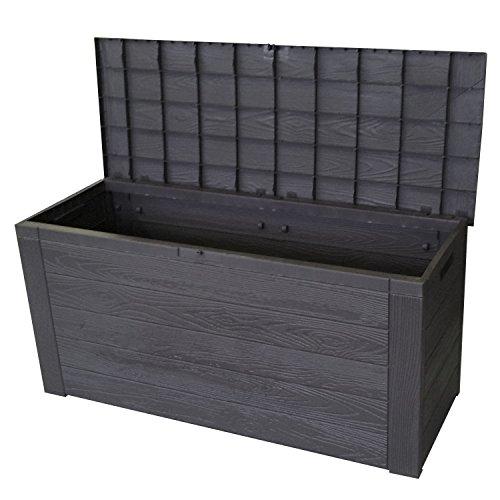 Auflagenbox in Holzoptik Gartenbox Anthrazit 300L / 120x46xH58cm Gartentruhe Kissenbox für Polsterauflagen