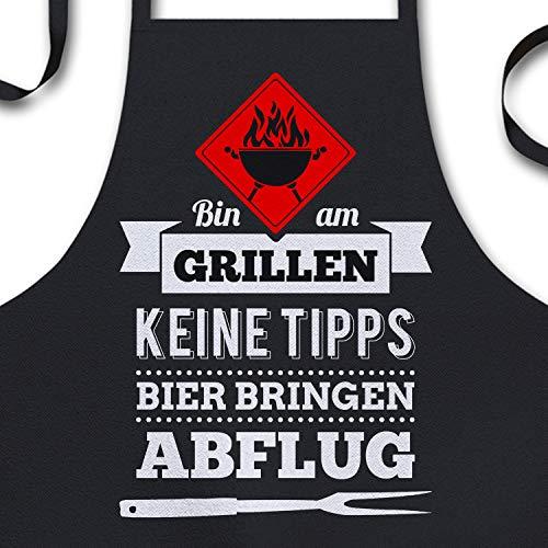 YORA Grillschürze für Männer lustig - Bin am Grillen - Vatertagsgeschenk inkl. personalisierbarer Urkunde -...