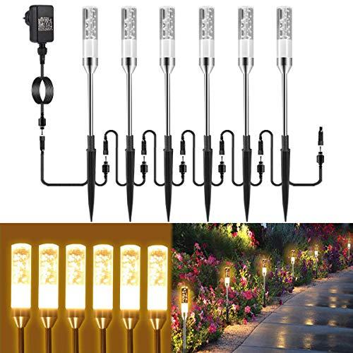 Gartenbeleuchtung B-right 6er Set Gartenleuchte mit Erdspieß, Außenleuchte mit Stecker, Landschaftslicht...