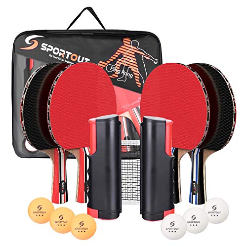 Easyroom 4 Spieler-Tischtennis-Set, Tischtennisschläger Set mit ausziehbarem Netz, Bälle und tragbare...