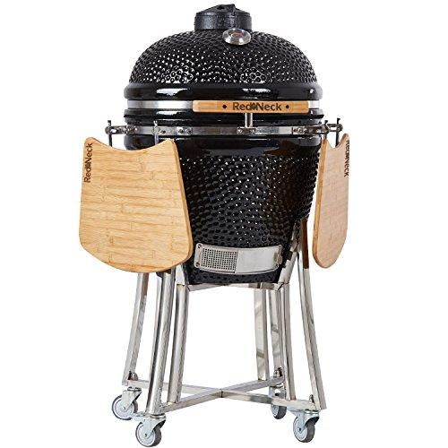 AsVIVA Redneck Keramik Grill (52cm Grillfläche), professioneller BBQ, Bambus Ablagen, Edelstahl Anbauteile,...