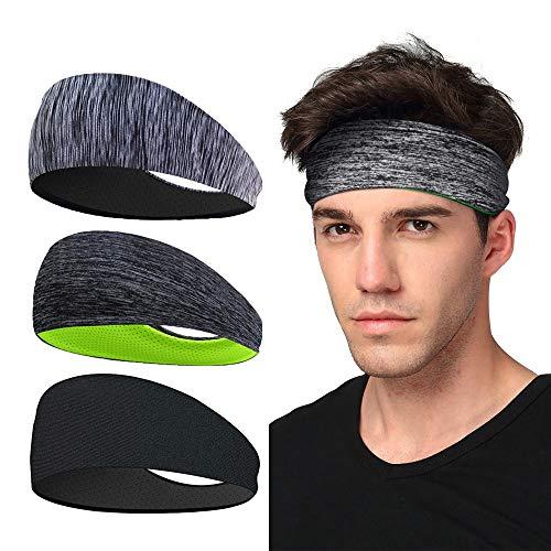 Sport-Stirnband 3 Pack, LATTCURE Herren Stirnband, Schweißband, Stirnband Anti Rutsch, für Jogging, Laufen,...
