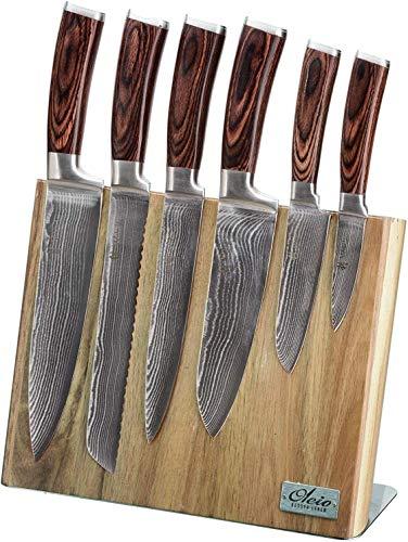 Wakoli Edib 6er Damastmesser-Set mit Klingenlängen von 8,50cm bis 20,50cm extrem scharf aus 67 Lagen I...