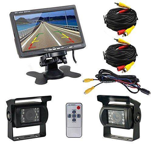 Podofo Dual Rückfahrkamera Set mit 7' Backup Kamera LCD Kfz-Monitor & Zwei Rückfahrkameras,Dual Backup...