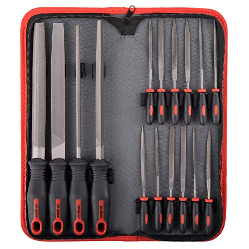 Hi-Spec All-In-One 16-teiliges Carbon-Stahl-Feilen-Set mit 4 x 200mm Feile flach, halbrund, rund, dreieckig 8...